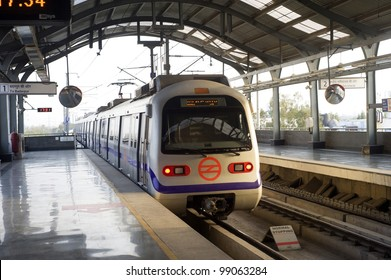 DELHI - MARCH 03: Delhi Metro station on March 03, 2012 in Delhi. Delhi Metro network consists of six lines with a total length of 189.63 kilometres (117.83 mi) with 142 stations