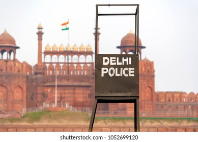 Delhi Police point in front of the Red Fort in New Delhi