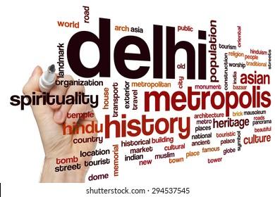 Delhi word cloud concept