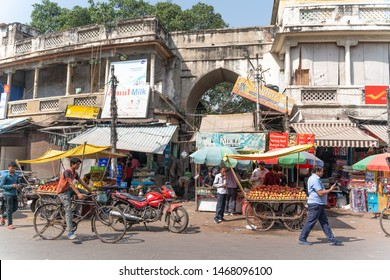 Delhi-12.10.2018:The view on main bazar street in India