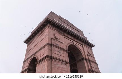 Delhi/India - June 2018: Dramatic side angle close up of India Gate