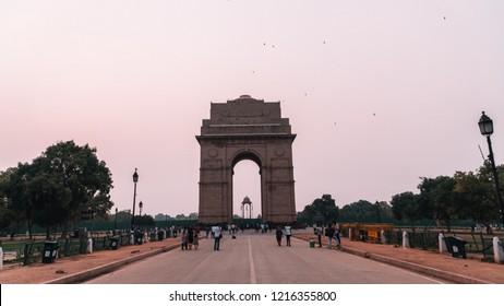 Delhi/India - June 2018: Walking up to India Gate at SUNRISE