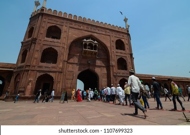 Delhi/India - May,25th,2018 :  Men leaving Jama Masjid after reciting the Jummah Namaz (Friday prayer).