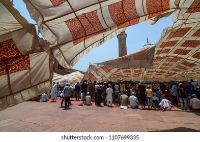 Delhi/India - May,25th,2018 : Temporary tent collapsed after a strong wind storm right before the Jummah Namaz (Friday prayer) at Jama Masjid in Delhi, India.