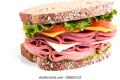 deli sandwich on multi-grain bread - Isolated
