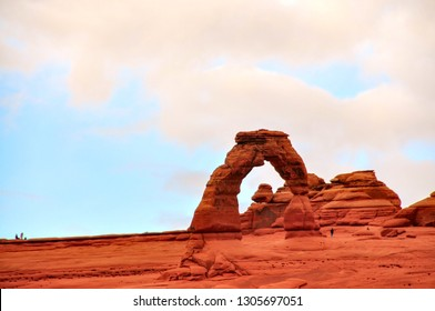Delicate Arch is 60-foot-tall freestanding natural arch located in Arches National Park near Moab, Utah