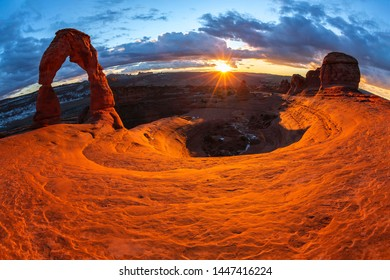 Delicate arch at winter sunset, Arches National Park, Utah