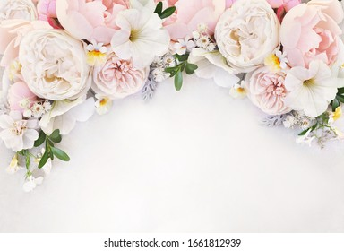 Delicate blossoming roses and blooming flowers festive background, pastel and soft bouquet floral card, selective focus, toned