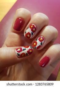 Delicate camelia nail art