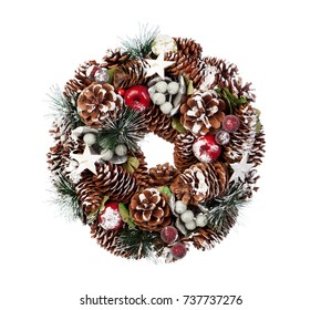Delicate Christmas wreath of pine cones isolated on a white background
