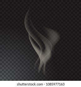 Delicate cigarette smoke waves on transparent background