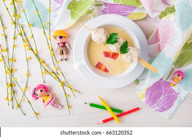 Delicate cream soup from chicken broth, potatoes, cream and meatballs. Children's menu in the restaurant. A healthy, nutritious, balanced diet for children.