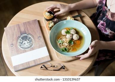 Delicate cream soup prepared in oriental restaurant