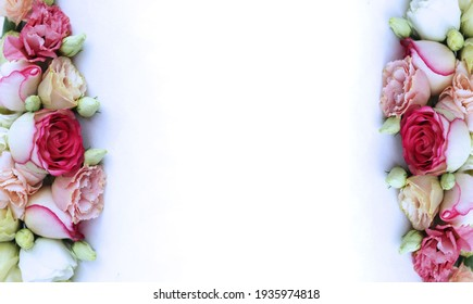 Delicate floral arrangement of roses on a white background. Soft pastel colors. Background for greetings, postcards.
