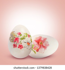 Delicate floral two Easter eggs.