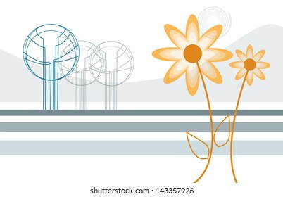 Delicate garden in abstract style made in 2d software