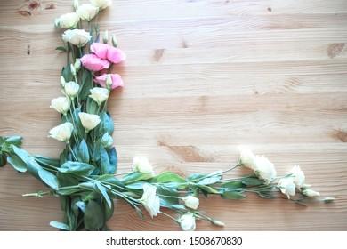 delicate light eustoma flower frame for photo