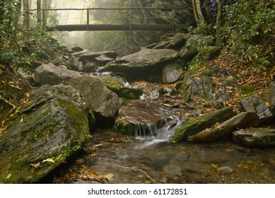 Delicate mist over a stream on Arch Trail in Smoky Mountains National Park