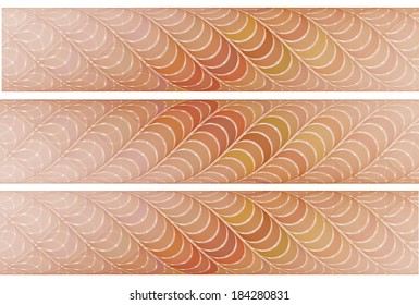 Delicate orange, red and yellow woven bars on white background