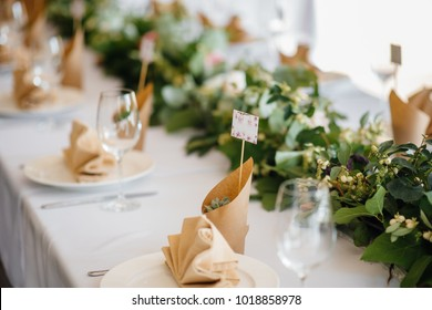 Delicate and stylish setting of the festive table. Banquet, wedding.