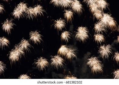 Delicate tassel like firework patterns in the night sky