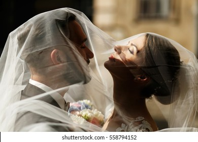 Delicate veil covers bride and groom enjoying daylight on the street