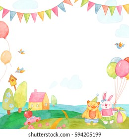 Delicate watercolor card with children's toys.