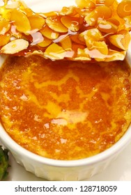 Delicious almond praline and baked custard ready to serve.
