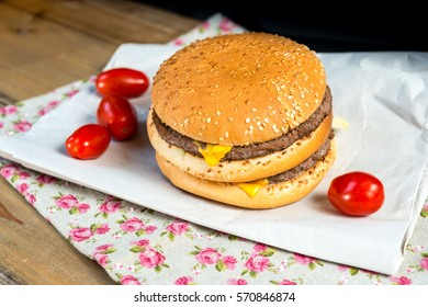 delicious American cheese burger with tomato