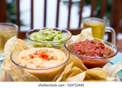 delicious appetizers are served on the cottage deck overlooking the lake