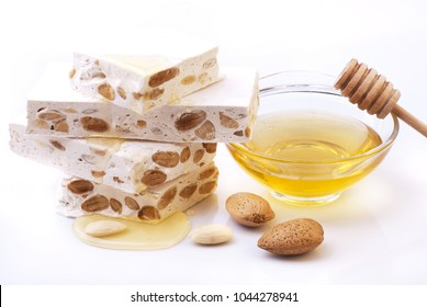delicious artisan nougat in pieces with honey and almonds