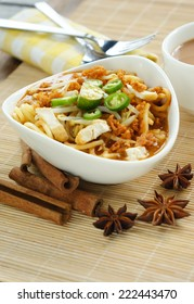 Delicious Asian Mee Rebus with a focus on food DOF