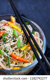 Delicious asian rice glass noodles with vegetables