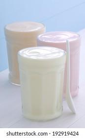 Delicious assorted fresh healthy yogurts