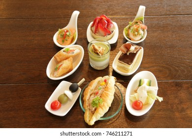 A Delicious assorted mini food cocktai banquet