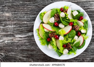delicious autumn vitamins vegetarian salad: apple, spinach, mini mozzarella balls, lettuce, walnuts, cranberry on white dish  on old dark rustic table, copy space left, view from above