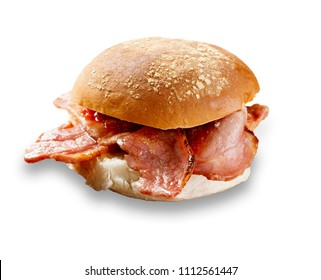 delicious bacon roll shot on white, and cut out with a drop shadow