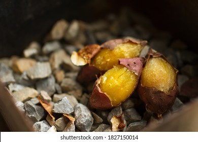Delicious Baked sweet potato with stone