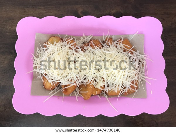 Delicious Banana Fritters Grated Cheese Stock Photo Edit Now 1474938140