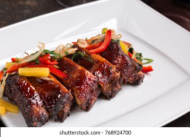 Delicious Barbecued Ribs. Grilled Pork Ribs.