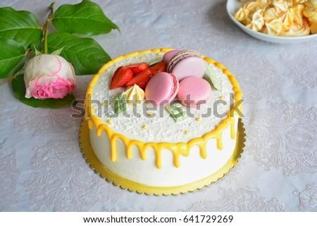 Delicious Beautiful Homemade Cake Strawberries Chocolate Stock Photo