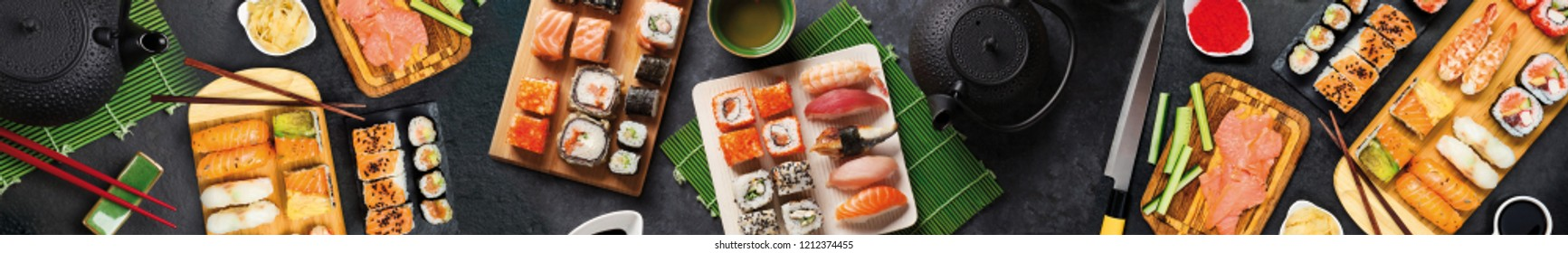 Delicious and beautiful sushi. Japanese food.