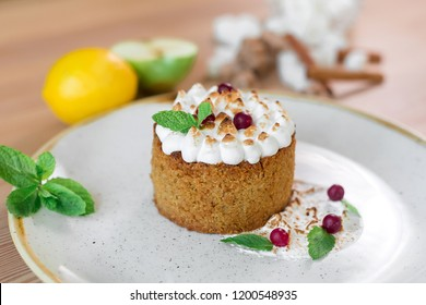 Delicious beautiful tasty dessert with cream and mint