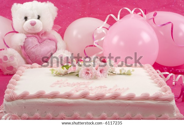 Delicious Beautifully Decorated Birthday Cake Teddy Bear And Balloons