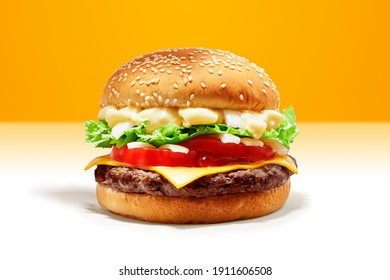 Delicious Beef Burger consists of Bun Bread, Patty, Pickle, Onion, Mayonaisse, Ketchup, Cheddar Cheese and lettuce in a yellow background, with interactive 3D text for Modern Fast Food Restaurant menu