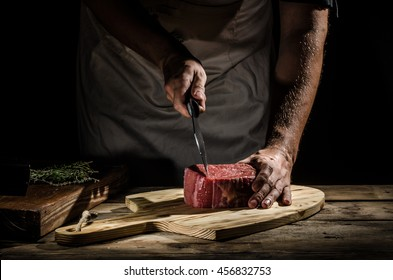 Delicious beef steak, product photo, place for your advertisment