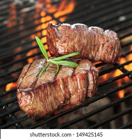 Delicious beef steakes on grill