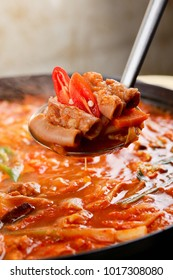 Delicious beef tripe  in a hot pot