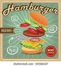 Delicious best choice retro hamburger food fresh ingredients poster  illustration