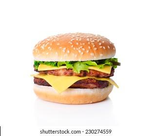 Delicious big ham burger isolated on white